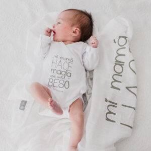 Body recién nacido con frases, bodies de algodón bebés Mimuselina