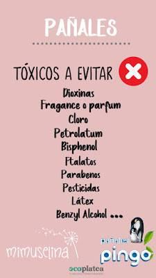 Lista de elementos tóxicos que no deberían llevar los pañales, blog mimuselina