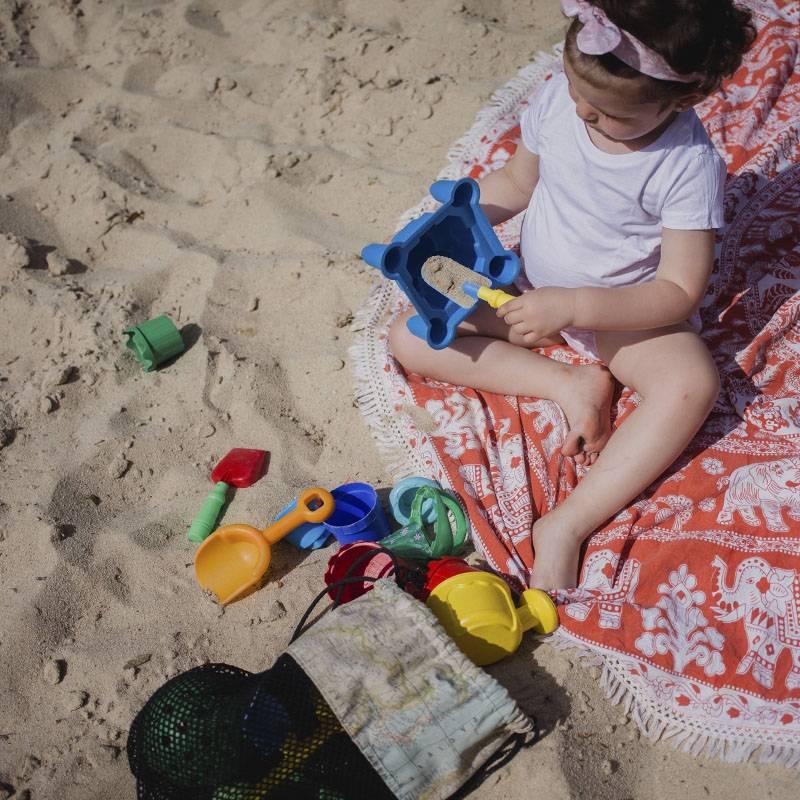 Bolsa red vacia arena playa bebés protección solar