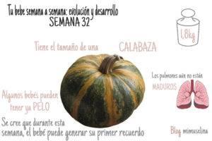 Semana 32 del embarazo evolución y desarrollo tamaño calabaza