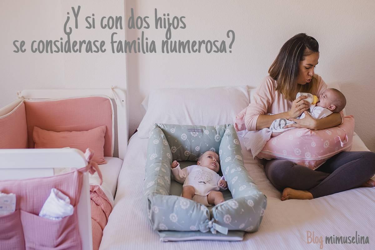 Familias numerosas con dos hijos, polémica, cama con cuco reductor de cuna y cojín lactancia