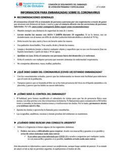 Protocolo para embarazadas y partos en el 12 de octubre coronavirus