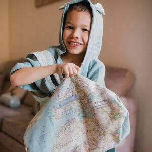 Poncho bambula bebe con capucha, toalla piscina mimuselina