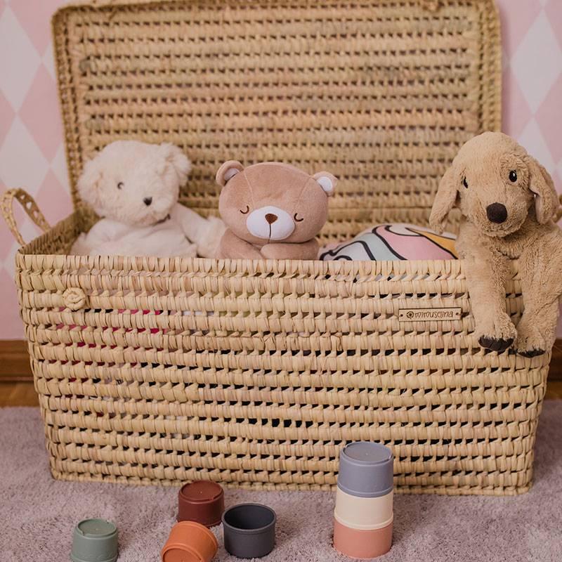 baul para juguetes, cofre de mimbre, baúl de palma decoración